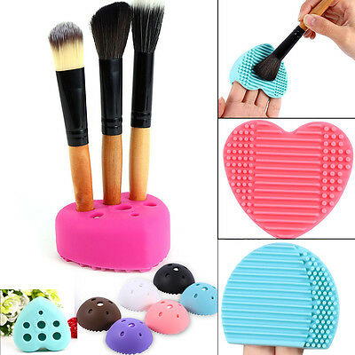 9 Color Cleaning Glove MakeUp Washing Brush Scrubber Board Cosmetic Clean Tool E