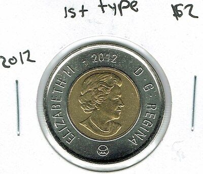 2012 Canadian Brilliant Uncirculated Type 1 $2 Toonie coin!