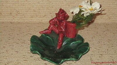Vintage Burgandy Pixie Elf Sitting On Dark Green Leaf Dish Great for Nuts/Candy