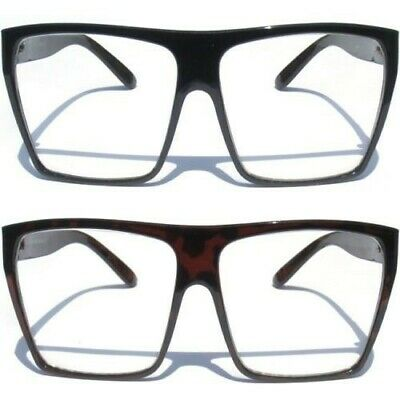 cbad680ac7b OVERSIZE LARGE BIG Clear Lens Eye Glasses Squared Aviator Design Vintage  Style