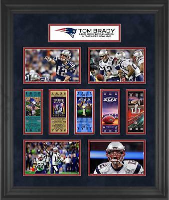 Tom Brady New England Patriots Framed 23x27 5x Super Bowl Champs Ticket Collage