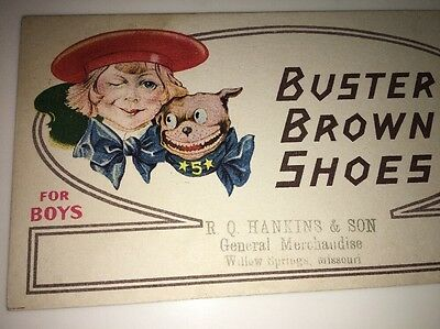 Buster Brown And Dog Tiege Shoes Advertising Blotter Willow Springs Mo Hankins