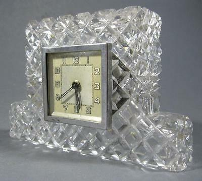 Vintage art deco French crystal clock wind up Made in France