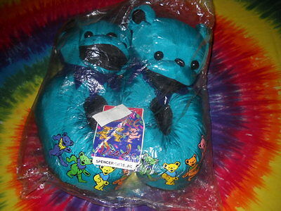 Dancing Bear Paws Spencer Gift Grateful Dead Plush Winter Warm Slippers-Rare-New