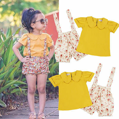 US 2PCS Set Toddler Kids Baby Girls Floral Strap Shorts+T-shirt Top Pants Outfit