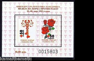 Macedonia MNH Imperf SS, Red Cross, Rose, Medicine Logo - M12