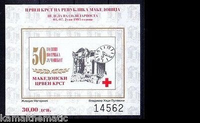 Macedonia 1995 MNH Imperf SS, Red Cross, Clock  - M6