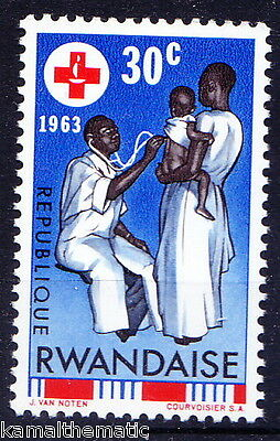 Rwanda MNH, With out Gum, Doctor, Red Cross, Sthetescope, Medicine   - M12