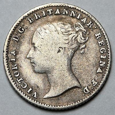 1855 Queen Victoria Great Britain Silver Groat Four Pence 4D Coin