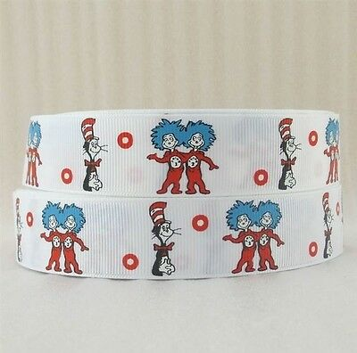 Grosgrain Ribbon - 1 Inch - 25 mm - Print by the Metre - Dr Suess