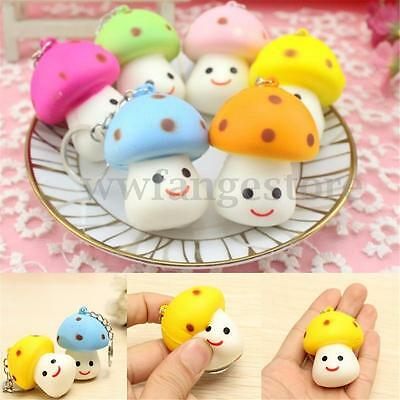 1pcs Little Squishy Mushroom Cute Toy Scented Key Chain Bag Strap Pendant Decor