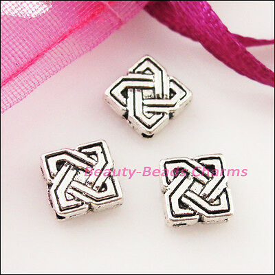 30 New Charms Square Chinese Knot Spacer Frame Beads 7mm Tibetan Silver