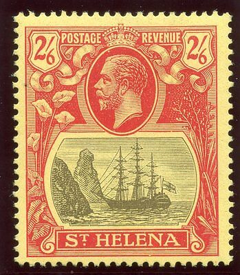 St Helena 1922 KGV 2s 6d grey & red/yellow MLH. SG 94. Sc 97.
