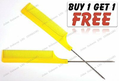 Hairdresser Barber Metal End Pin Tail Rat Tail Comb For Styling Yellow Free Uk