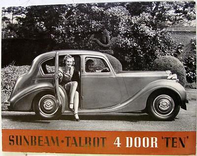 SUNBEAM TALBOT Ten Original Car Sales Brochure Aug 1938 No.2751/8/38 SB