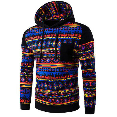 Men Bohemia Geometric Hoodie Sweatshirt Hooded Pullover Jacket Coat Outwear Tops