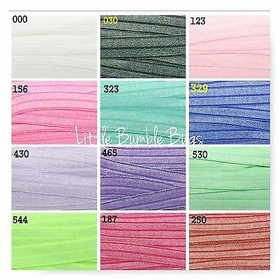 Foe 5/8 Fold Over Elastic By The Metre - Hologram Metallic Glitter