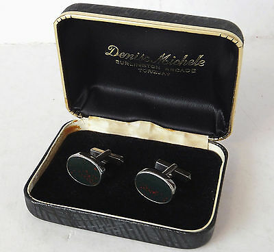 Pair of Sterling Silver & Bloodstone Cufflinks - Boxed