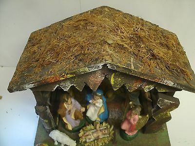 Vintage Nativity Set w/ COLLAPSIBLE manger & figures Made In ITALY