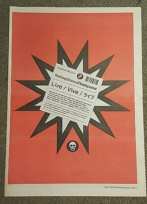 Rolling Stones Flashpoint 1991 press advert Full page 30 x 42 cm mini poster