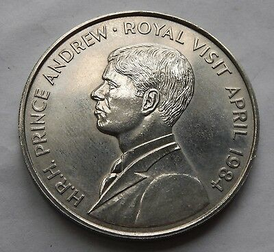 Ascension Island Fifty Pence 50p 1984 Royal Visit Prince Andrew