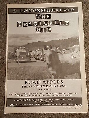 Tragically Hip Road Apples 1991 press advert Full page 30 x 42 cm mini poster