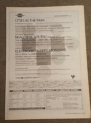 Cities Electronic Happy monday 1991 press advert Full page 30 x 42cm mini poster