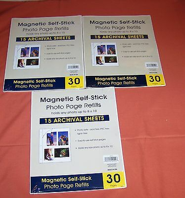Holson Magnetic Self Stick Photo Page Refills 8x10 Archival 45 Sheets 90 Pages