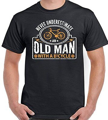 e497ab08 Never Underestimate An Old Man With A Bicycle - Mens Funny Cycling T-Shirt  Bike
