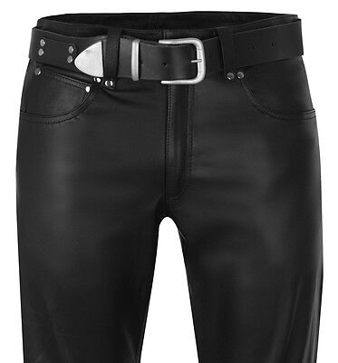Designer Lederhose 50 Lederjeans Neu Schwarz W34 Leather Trousers Pants 34 Cuir Parts & Accessories