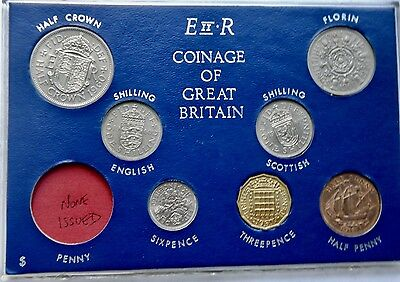 1960 Set of all Issued coins Halfpenny to Halfcrown on Card