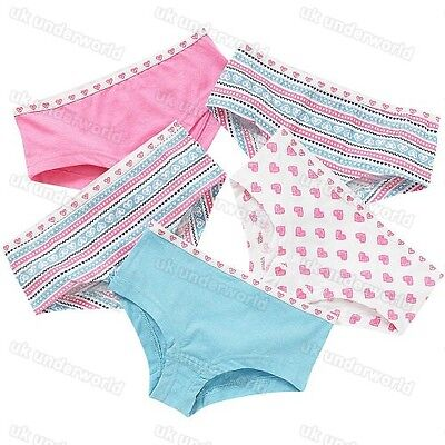 5 Pairs Girls Hipster Boxer Shorts Cotton Briefs Pants Knickers Childrens 5-13