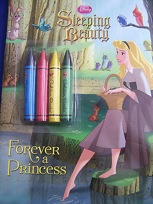NEW Vtg Disney SLEEPING BEAUTY Forever A Princess Unused COLORING BOOK & Crayons