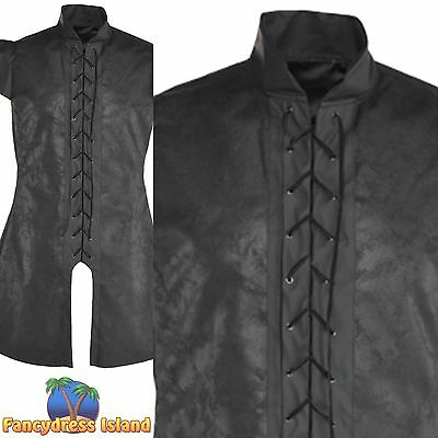 BLACK TUNIC WARRIOR GAME OF THRONES KING One Size Adult Mens fancy dress costume