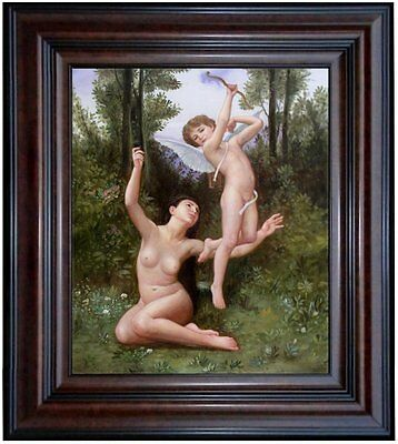 Framed Hand Painted Oil Painting Repro Bouguereau Love Has Flown, 20x24in