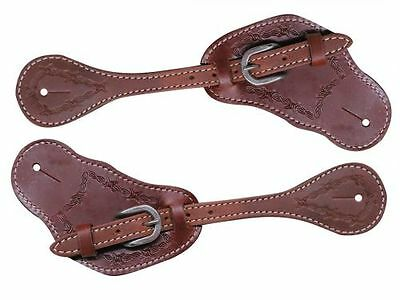 Showman Medium Oil Leather Barb Wire Tooled Mens Spur Straps New