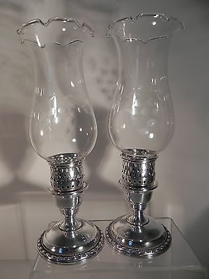 Antique LA PIERRE Sterling Silver Hurricane Candle Lamps Candlesticks, Chimneys