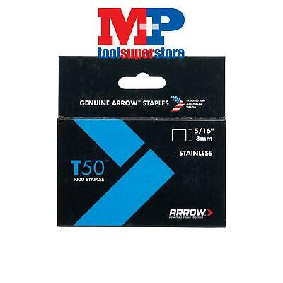 Arrow T50516SS T50 Staples Stainless Steel 505SS 8mm ( 5/16in) Box 1000