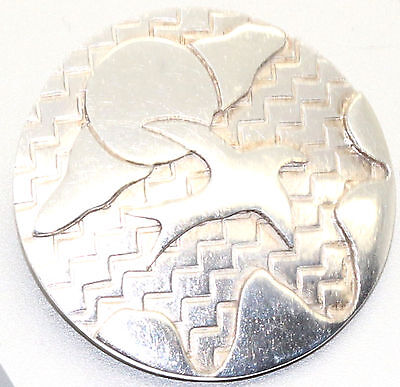 Sterling Silver ABSTRACT Disk Heavy Brooch Scottish Hallmarked Edinburgh 1997