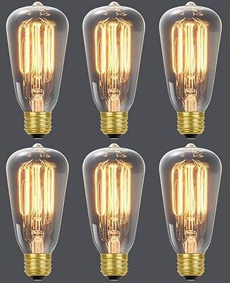 de65a12755e (6) Globe 01321 60W Vintage Edison S60 Squirrel Cage Incandescent Light  Bulbs