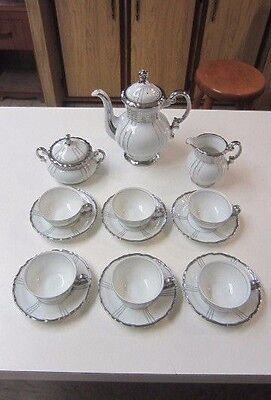 Fine Seyei Renaissance # 1031 Tea Pot, Creamer, Sugar & 6) Sets Cup & Saucers
