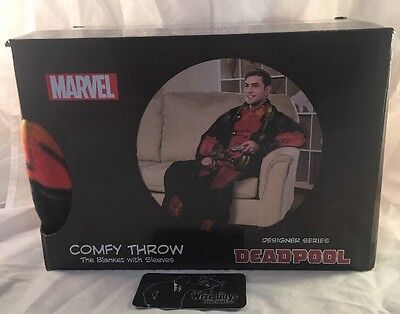 Marvel Comics Deadpool Comfy Throw Blanket With Sleeves Cosplay Snuggie New