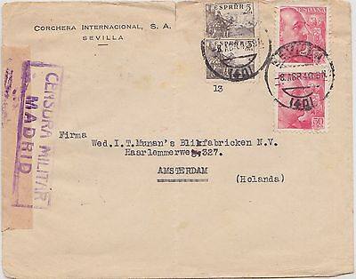 200) SPAIN 1940 - CENSURA MILITAR MADRID COVER  SEVILLA  to HOLLAND  - PERFECT