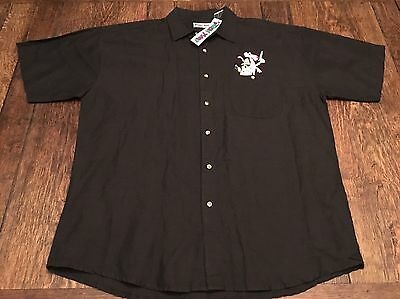 NWT vintage PINK PANTHER mens XL button up black shirt Toon Time cartoon t.v. ~~
