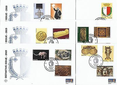 2009 Malta First Day Covers Fdc  - Full Set Of Six Definitive Issue - €0.01 - €5