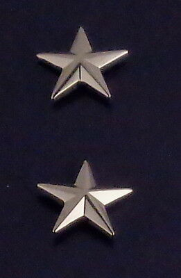 "Police Chief/Deputy 1 star 5/8"" Polished Silver Pair Collar Pins Rank Insignia"