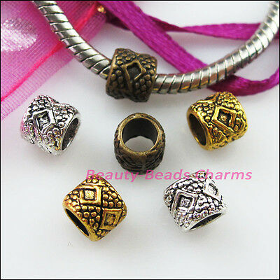 15 New Charms Tube Spacer Beads 6x7mm Tibetan Silver Gold Bronze Tone