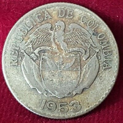 1953 Republic of Colombia Silver Coin 2 Year Issue