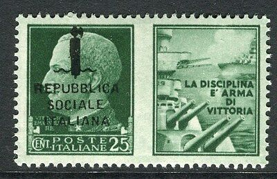 ITALY;  1944 WWII Navy Propaganda Rep. Sociale Optd. issue 25c. Mint MNH