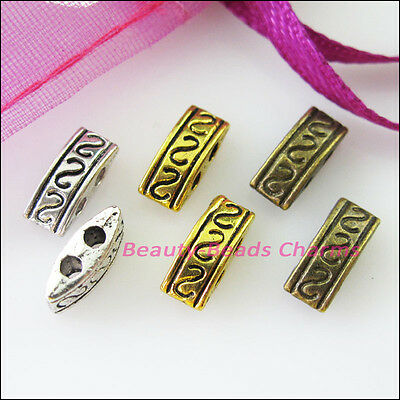 25 New Charms 2 Hole Spacer Bar Beads Connectors 4x10mm Silver Gold Bronze Tone